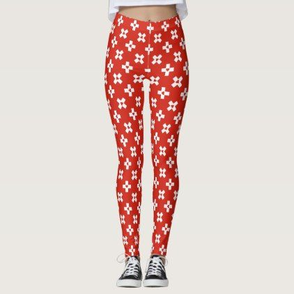 Switzerland Flag with  Heart pattern Leggings - pattern sample design template diy cyo customize