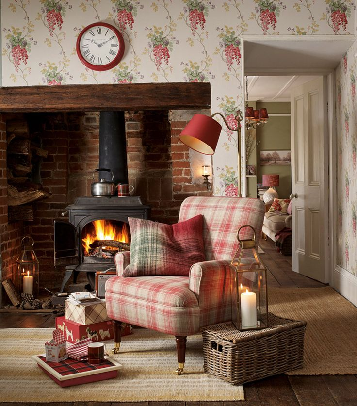 New Home Story: Ambleside Collection | Laura Ashley Blog | Wisteria Cranberry Floral Wallpaper | Stirling Check Cranberry Cushion | Williams Check Upholstery Fabric