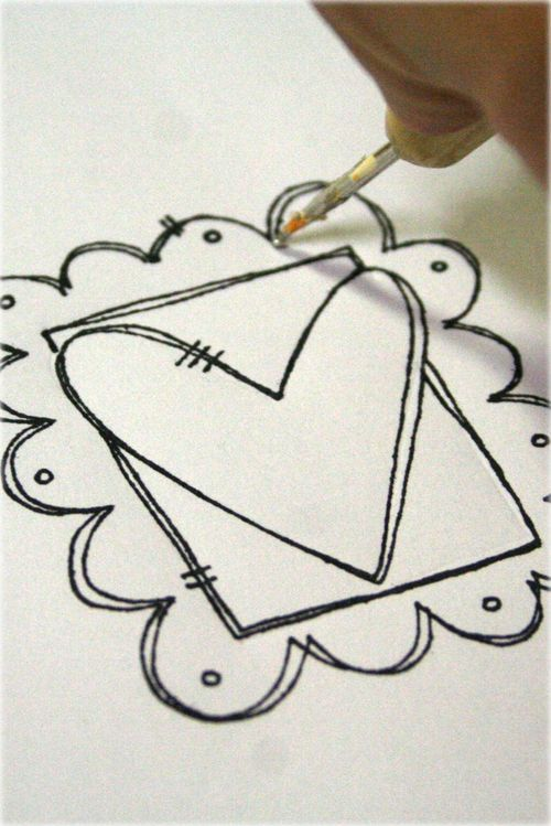 Simple framed heart doodle; Doodling is so so cool and so much fun!!!!