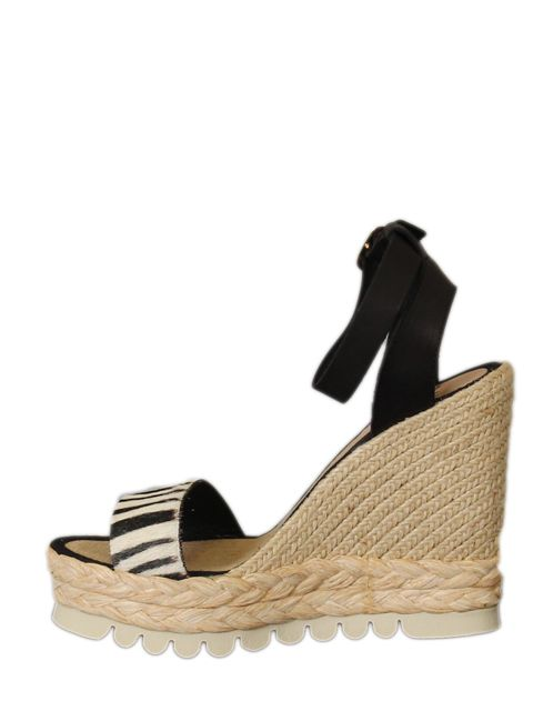 beige sandaal met sleehak en zebra detail - Schoenen met hak - BoBo Tremelo