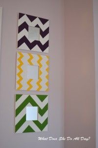Black and white chevron painted mirror ideal for black and white modern bedroom, but on a larger scale.