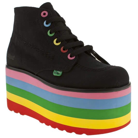 Women's Black Kickers Kick Hi Lazy Oaf Lite at Schuh. Lazy Oaf enjoy creating designs that will make you smile and we're pretty sure that their collaboration with Kickers will leave you beaming.  The canvas upper of the classic Hi is placed on a rainbow 8cm flatform to create the Lite. It's totally awesome!