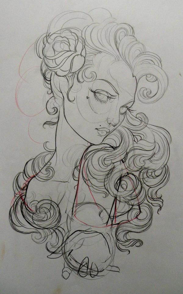 neo traditional girl tattoo design - Google Search | neo ...