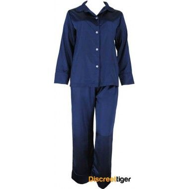 NAVY SATIN WINTER PYJAMAS http://www.discreettiger.com.au/sleepwear/satin-pyjamas/navy-blue-satin-pyjamas-womens-winter @discreettiger #comfort #navy #luxuriouswear #silkysoft #loungepants #giftidea #plussize Beautifully made navy loungewear full length sleeves and draw string pants. Suitable for those days when you just stay at home.  Small to plus size, we have you covered.  Free shipping for our Australian customers, great flat rate on international.