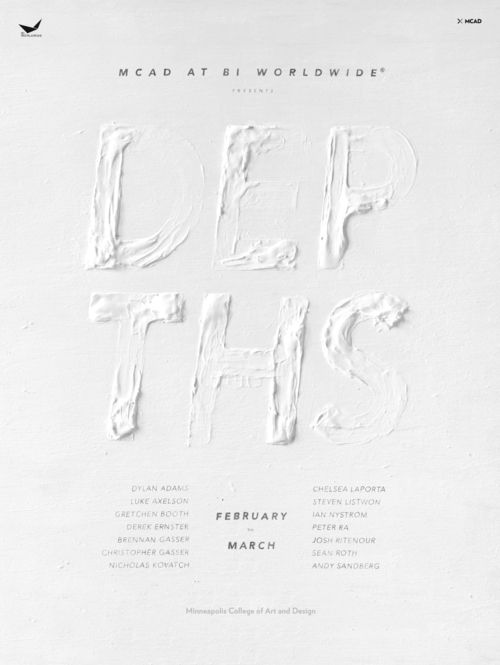 "layout of the word is kind of hard to read, but cool expressive type idea. ""Depths"""