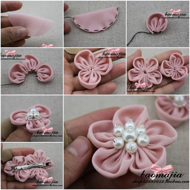 How to make Nice Fabric Flower Hair Clip step by step DIY instructions, How to, how to make, step by step, picture tutorials, diy instructions, craft, do it yourself