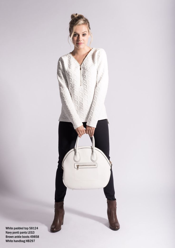58124 white padded top with front zipper