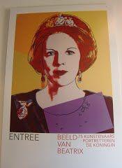 Tentoonstellingsaffiche Beeld van Beatrix (1985) Andy Warhol, Tentoonstelling Beeld van Beatrix, 2013,  Paleis Het Loo, Apeldoorn, Gelderland, Nederland  (Trudi)