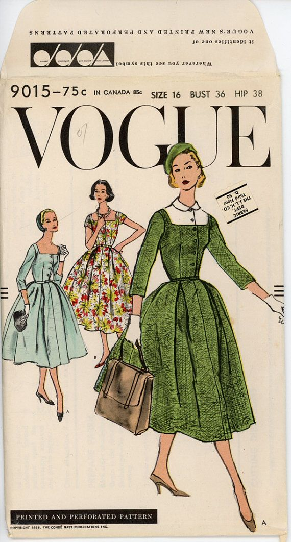 1950s Cocktail Dress Pattern Vogue 9015 36 Bust by CynicalGirl
