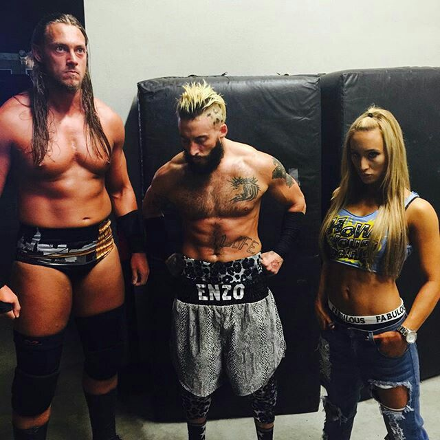 Colin Cassady, Enzo Amore and Carmella.