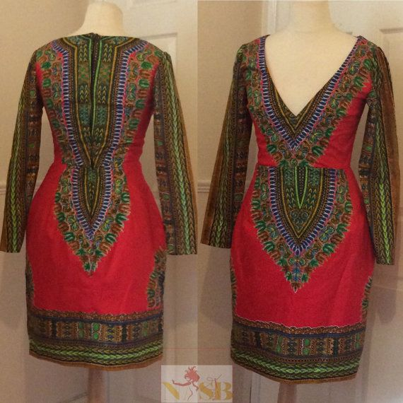 Dashiki fitted dress by Nasbstitches on Etsy