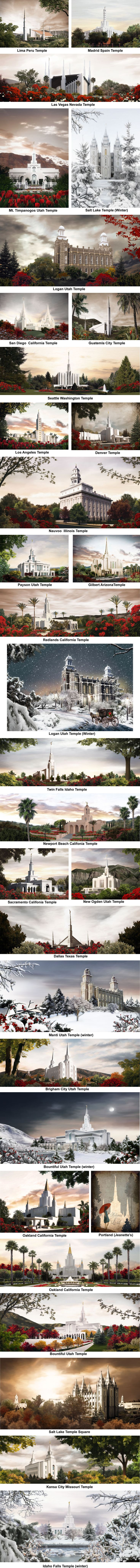 Temple pics by Brent Borrup. I actually have the Draper Temple one in my room! It's so pretty :)