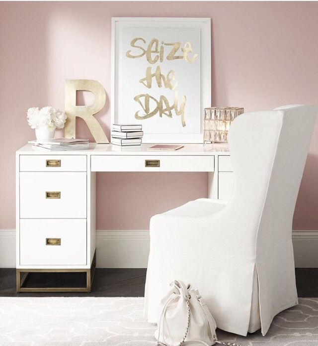 Pink, white and gold office
