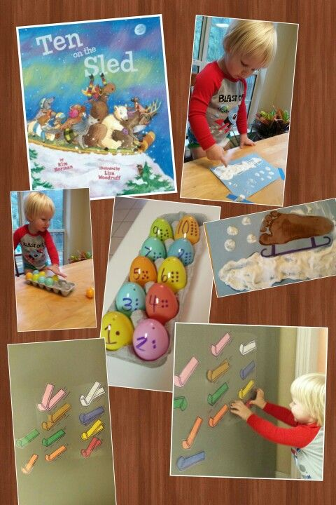 Ten on the sled activities for toddlers. Sled footprint with puffy paint, magnetic sled color match, and counting eggs in the sled.