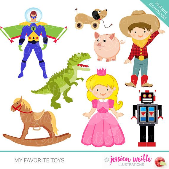 This Cute Set Of Old Fashioned Toys Comes With 8 Toy Cliparts