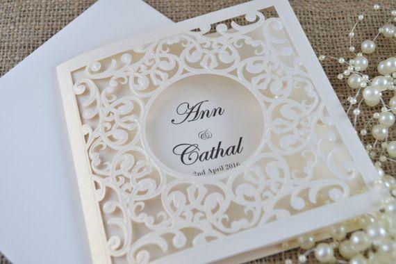 Invitación de boda del corte del laser corte del por FoxfordAtelier