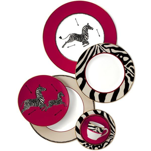Scalamandré by Lenox collection of table and giftware includes china in the textile house's signature Zebras pattern // Bloomingdales