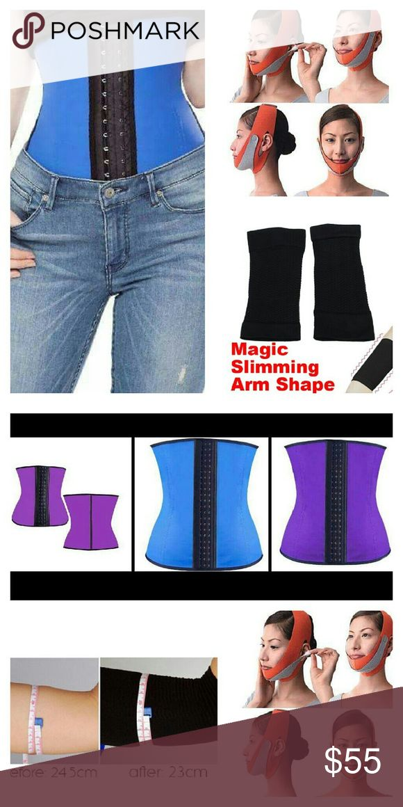 Shape-wear Body Shaper Faja Waist Face Arm Thighs 3pcs  Body Firming Slimming Compression Fajas bundle  8 Steel Spiral bones Latex Waist Cincher Corset Hourglass Trainer 3XL Blue 37-40in Waist 3 row hook n eye closure, cotton lining Perfect 4 Post-natal women lose inches fast improve posture  -muffin top -bloating  V Shape face mask +collagen production, shapes n slims jaw line n cheeks lifts n firms sagging skin Bye Bye double chin  Arm leg shaper - firms upper arms n thighs, Increase…