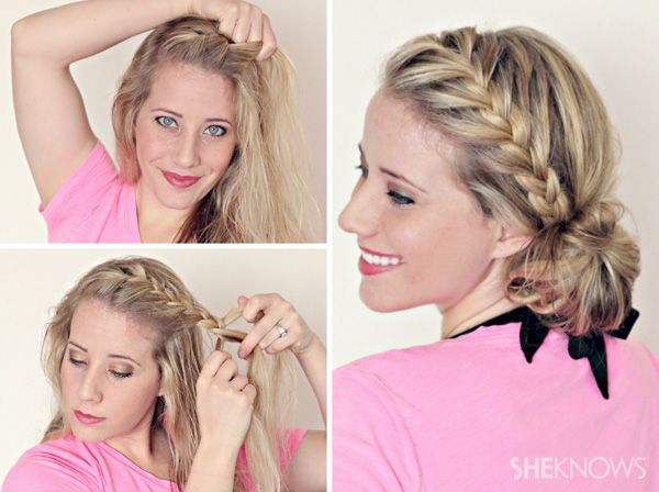 French braided low messy side bun tutorial; this works AWESOME on wet hair. It kept my bangs out of my face and stayed all day,