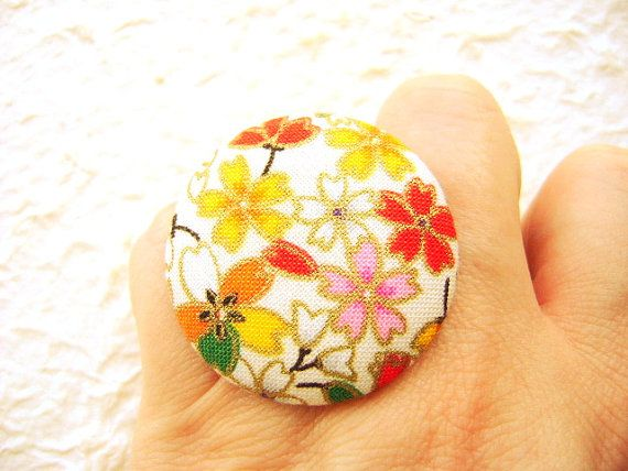 Japanese Fabric Button Ring Cherry Blossoms by SouZouCreations, $10.00: Favorite Things, Japanese Threads, Japanese Fabric, Fabric Button, Proyecto 2014, Cherry Blossoms