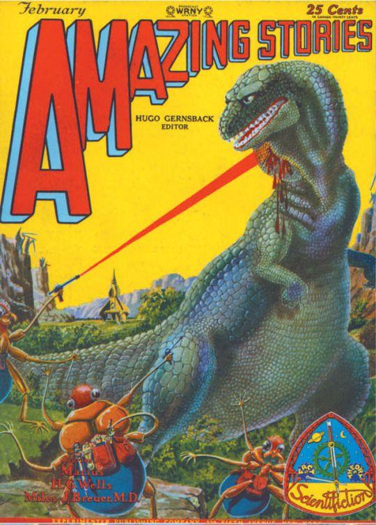 Ilustración de Fran R. Paul para la portada de la Amazing Stories -la revista pulp donde nació la ciencia ficción moderna a manos del notorio vendedor de humo Hugo Gernsback - de febrero de 1929