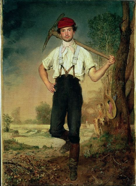 'Worker', 1848 by Johann Baptist Reiter (1813-1890). Painted in a year of revolutions. What a fine pair of braces, though it looks as if he may not have been working terribly hard, as there is a woman's hat hanging on the tree.