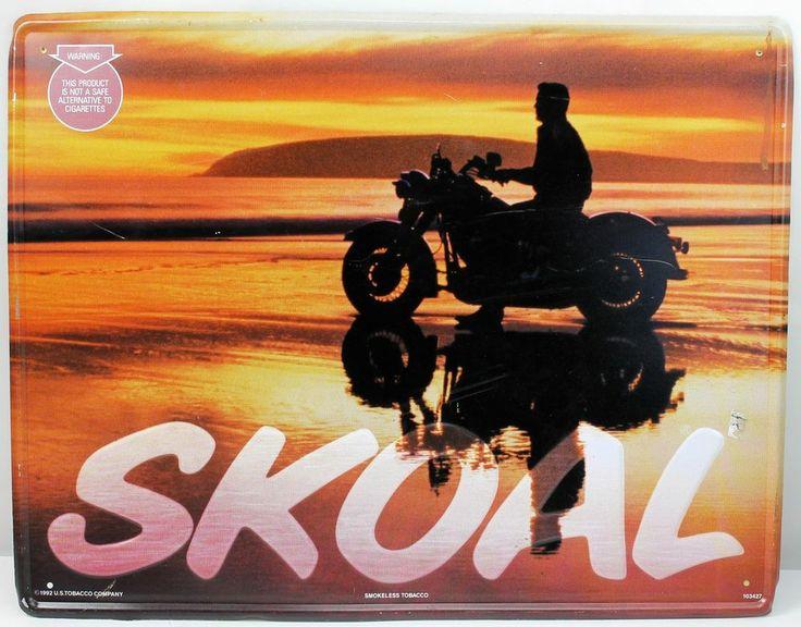 1992 SKOAL Tobacco vintage Motorcycle Biker on Beach Tin Advertising Sign 18x14