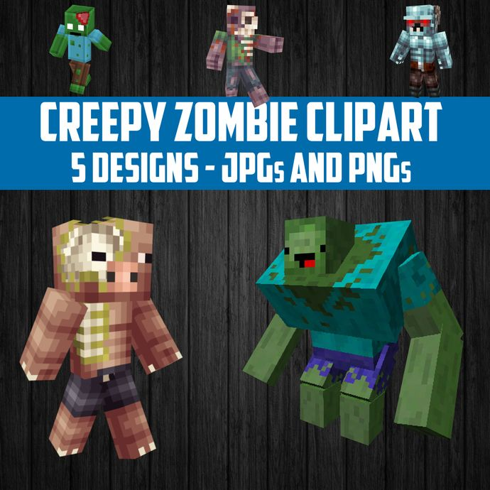 5 Creepy Zombie Clipart Images - Perfect for Party Favors or Craft Projects - Instant Download - DIY Printable by wilsongraphicsprintables, $2.00 USD