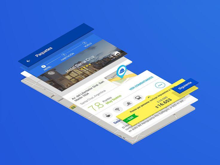 Hola!  Les mostramos una perspectiva isométrica del detalle de Hoteles en el flujo de Paquetes para nuestras apps en @UX Despegar.com . En este caso para la versión Android utilizando los lineamien...
