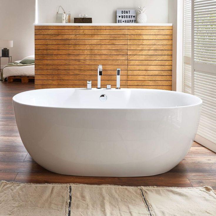 Freistehende Badewanne mit Armatur Acryl weiß Modern ...