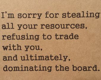 Funny Greeting Card. A Salute to The Settlers of Catan.