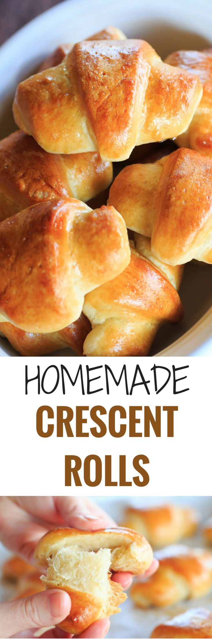 These homemade crescent rolls are flaky, buttery and easier than you'd think. They are the perfect accompaniment to any holiday meal! | http://www.browneyedbaker.com/homemade-crescent-rolls/
