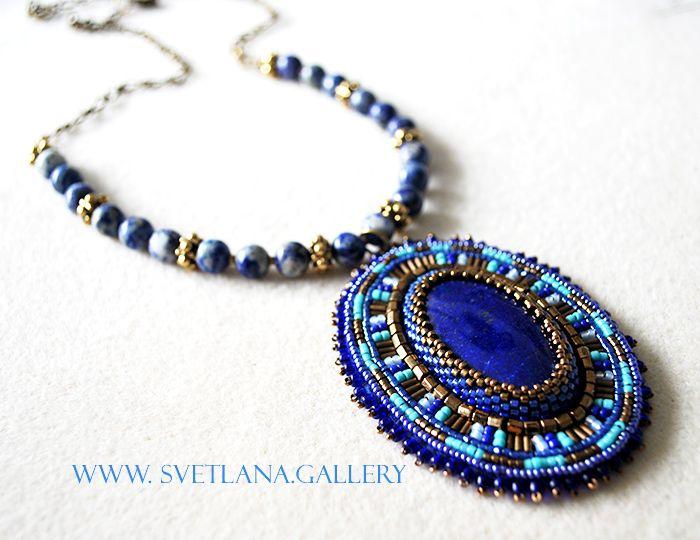 Lapis Lazuli bead embroidered pendant