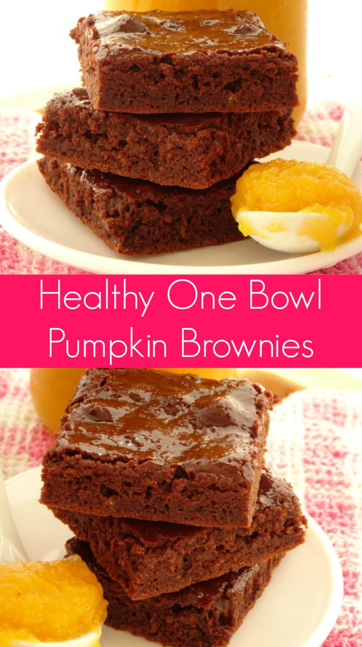 One Bowl Healthy Pumpkin Brownies Recipe | a quick and easy brownie recipe you can make in 30 minutes with just one bowl! These brownies are so rich and fudgy, you'd never know they're just 85 calories each. I still can't believe it! | www.pinkrecipebox.com