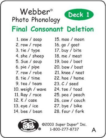 "Amazon.com : Webber Photo Phonology ""Final Consonant Deletion"" Minimal Pair Card Deck - Super Duper Educational Learning Toy for Kids : Flas..."