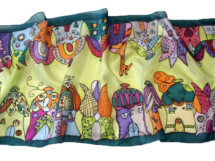 Gyerekrajzos selyem kendők, sálak - egyedi ajándék ballagásra tanároknak, óvónéniknek. Házacskás selyemsál