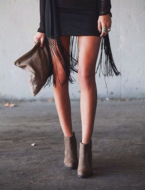 How to Wear Ankle Boots with Dresses via @PureWow