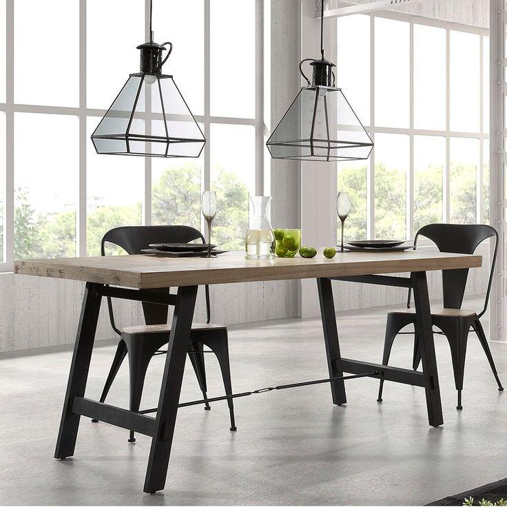 Mesa de comedor industrial vita vintage estiloindustrial - Adornos de mesa de comedor ...