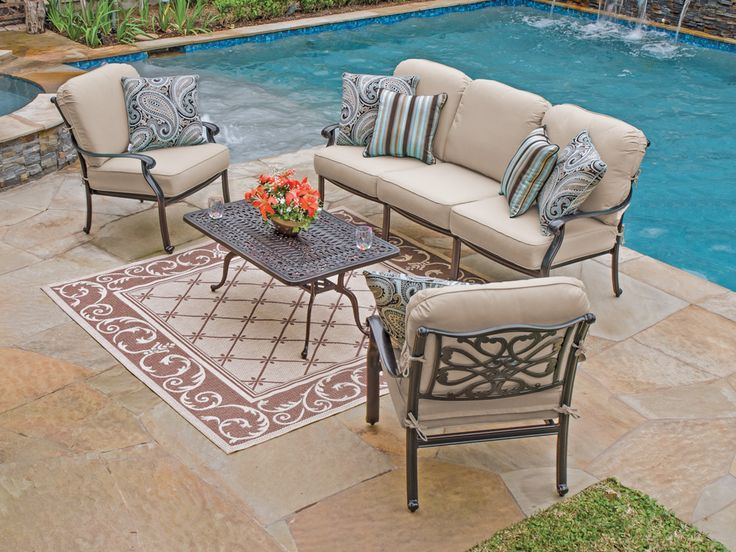 Orleans 4 Pc. Cast Aluminum Sofa Group with Spectrum Sand Sunbrella® Cushions