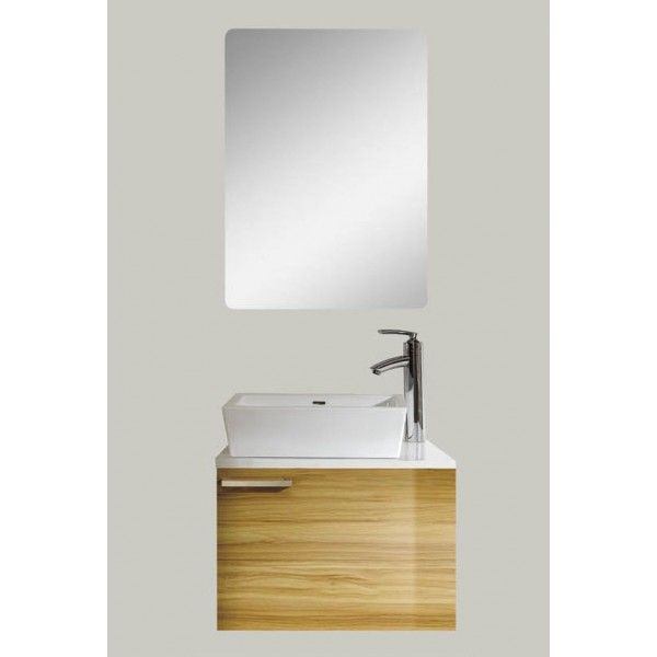Alcina with Frameless Mirror | Best Value Bathroom Furniture in Ireland.  Contemporary wall hung vanity unit with single door.  Perfect for a medium to large sized bathroom.  Comes in four sizes.