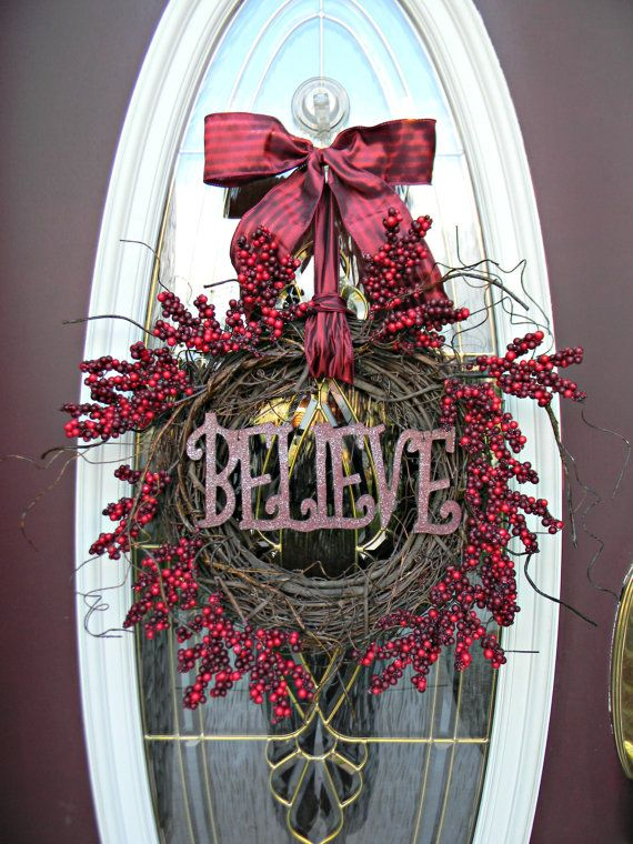 Christmas Wreath Holiday Door Wreath Decor.