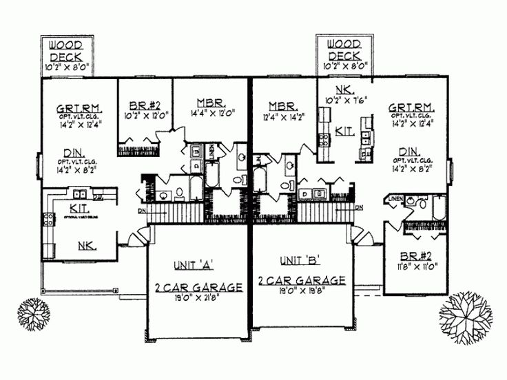 The 32 best images about duplex plans on pinterest for Ranch style duplex plans