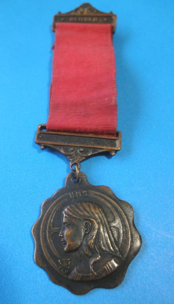 Vintage Brass Medal & Ribbon  HNS Holy Name Society Member