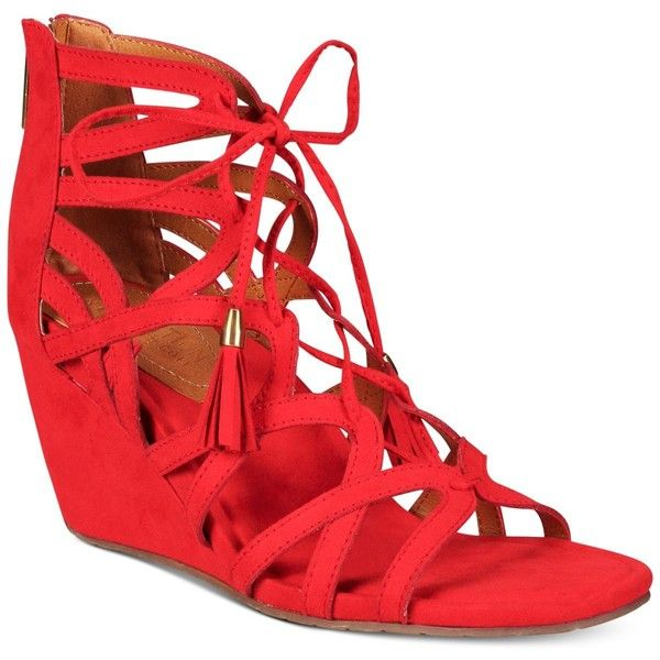 Kenneth Cole Reaction Women's Cake Pop Gladiator Lace-Up Wedge Sandals ($50) ❤ liked on Polyvore featuring shoes, sandals, red, red wedge shoes, roman gladiator sandals, lace up wedge sandals, strappy lace up sandals and strappy gladiator sandals