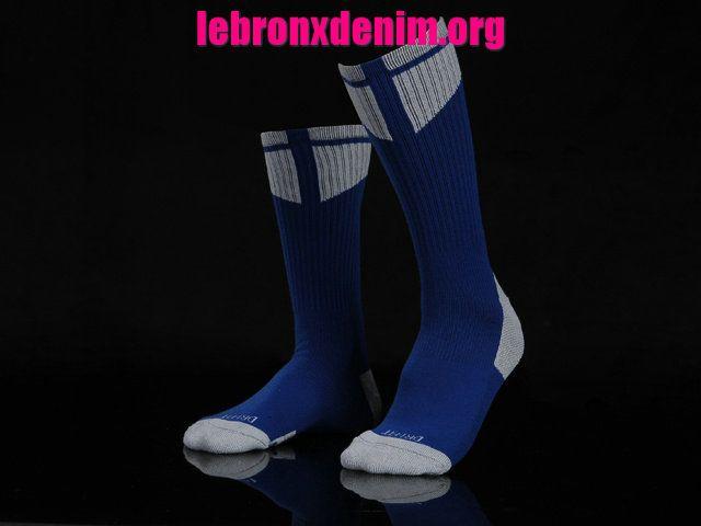 Royal White Jordan AJ Dri-Fit Crew Sock Mens [Lebron X Denim 261]