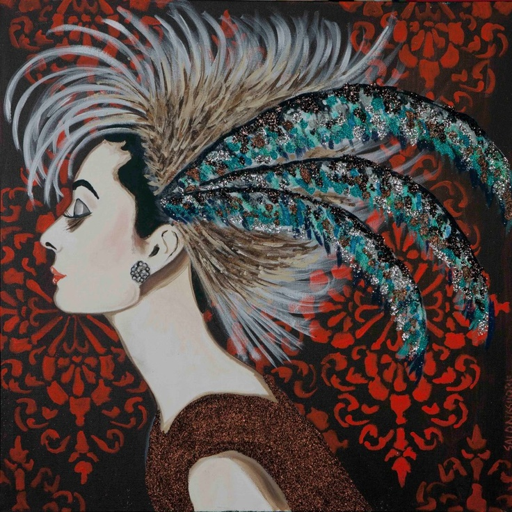 """AUDREY IN FEATHER MOHAWK HAT by Sarah Ashley Longshore  24"""" x 24"""""""