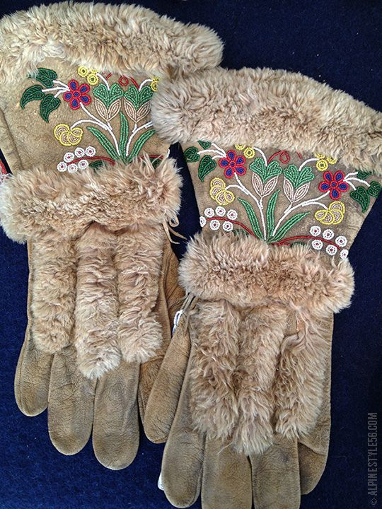 Native American leather and fur gloves with beaded flowers, believe to be Athabascan (Athabaskan) from western Canada.