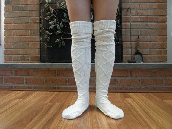 Boot Socks  Off White / Cream Chunky Knitted by MyBeautifulDay