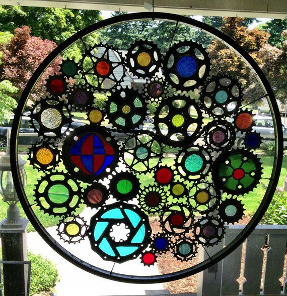 Stained glass bicycle wheel - recycled bicycle art