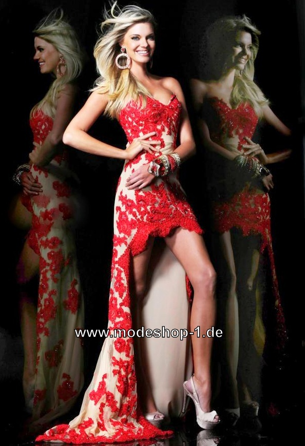 Rotes Vokuhila Abend Kleid mit Stick von www.modeshop-1.de